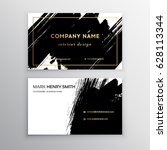 set of black and gold design... | Shutterstock .eps vector #628113344