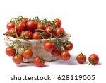 cherry tomatoes on basket ...   Shutterstock . vector #628119005
