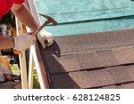 roofer builder worker use a... | Shutterstock . vector #628124825