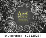 french cuisine top view frame.... | Shutterstock .eps vector #628125284