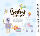 baby shower cute greeting card. ... | Shutterstock .eps vector #628132115