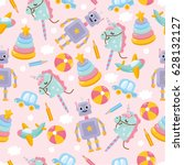 seamless pattern with cute toys.... | Shutterstock .eps vector #628132127