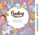 baby shower cute greeting card. ... | Shutterstock .eps vector #628132139