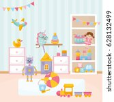 baby playing room. cozy kids... | Shutterstock .eps vector #628132499