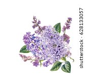 watercolor hand painted lilac.... | Shutterstock . vector #628133057