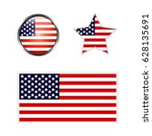 icons of american flag on white ... | Shutterstock .eps vector #628135691