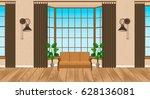 living room interior modern... | Shutterstock .eps vector #628136081