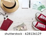 set of travel stuff on old... | Shutterstock . vector #628136129