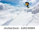 good skiing in the snowy... | Shutterstock . vector #628140884