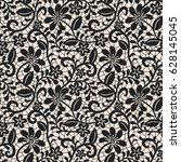 seamless black lace background... | Shutterstock .eps vector #628145045