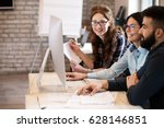 software engineers working on... | Shutterstock . vector #628146851