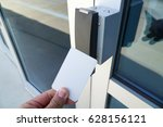 using white entrance card at... | Shutterstock . vector #628156121