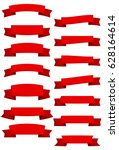 set of red cartoon ribbons and...   Shutterstock .eps vector #628164614