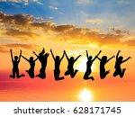 jumping over sunset evening... | Shutterstock . vector #628171745