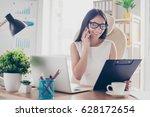 beautiful secretary in...   Shutterstock . vector #628172654