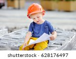portrait of little builder in... | Shutterstock . vector #628176497
