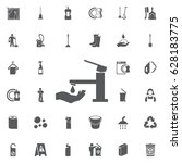 faucet with hand icon. vector... | Shutterstock .eps vector #628183775