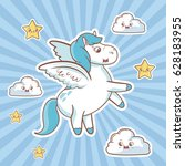 flying unicorn card cloud stars ... | Shutterstock .eps vector #628183955