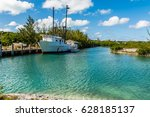 bahamian lobster fishing boat | Shutterstock . vector #628185137