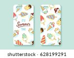 template phone case with... | Shutterstock .eps vector #628199291