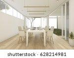 3d rendering minimal dining... | Shutterstock . vector #628214981