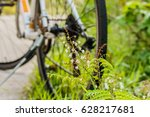 roadside flowers have bicycles... | Shutterstock . vector #628217681