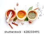 spices in wooden bowl white... | Shutterstock . vector #628233491