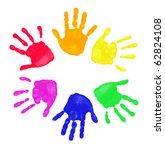 Set of colorful hand prints in...