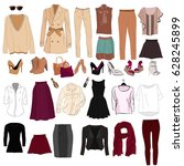 woman's wardrobe elements for... | Shutterstock .eps vector #628245899