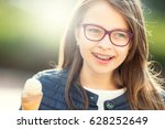 girl with ice cream glasses and ... | Shutterstock . vector #628252649