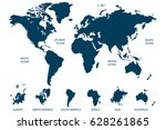world map vector. continents... | Shutterstock .eps vector #628261865