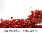 pomegranate fruit   ruby red ... | Shutterstock . vector #628262171