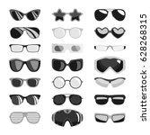 fashion black sunglasses set... | Shutterstock .eps vector #628268315