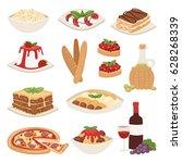 cartoon italy food cuisine... | Shutterstock .eps vector #628268339