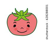 kawaii cute happy tomato... | Shutterstock .eps vector #628288001