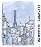 paris  france   vector sketch.... | Shutterstock .eps vector #628292555