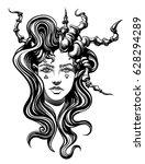 strange demon girl  with... | Shutterstock .eps vector #628294289