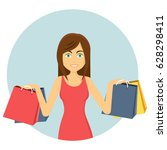 shopping icon girl with bags...   Shutterstock .eps vector #628298411