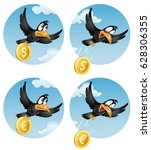 the flying crow drops the euro. ... | Shutterstock .eps vector #628306355