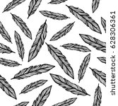 hand drawn feather seamless... | Shutterstock .eps vector #628306361