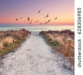 Small photo of path at Baltic sea over sand dunes with ocean view, sunset summer evening