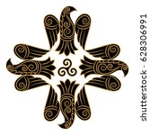 design of raven in celtic ... | Shutterstock .eps vector #628306991