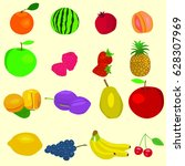 set of fresh fruit. | Shutterstock .eps vector #628307969