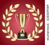 gold trophy for victory and... | Shutterstock .eps vector #628309589