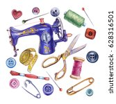 Watercolor Sewing Set. Sewing...