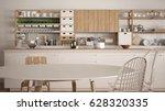 minimalist white wooden kitchen ...   Shutterstock . vector #628320335