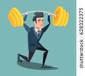 happy businessman lifting up... | Shutterstock .eps vector #628322375