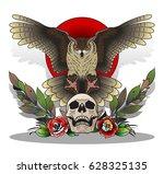 owl  skull  roses design | Shutterstock .eps vector #628325135