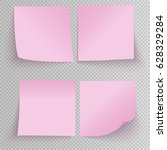 set of office pink sticky... | Shutterstock .eps vector #628329284