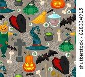 happy halloween vector... | Shutterstock . vector #628334915
